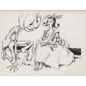 """Original preliminary drawing for The Wonder City of Oz: """"He gave Jenny a light pat on the head."""""""