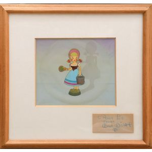 "Pinocchio production cel of a Dutch milk maid from the""Give a Little Whistle sequence""."