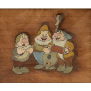 Production cel for Snow White and the Seven Dwarves.