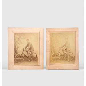 Two photographs of a gentleman posed on a bicycle.
