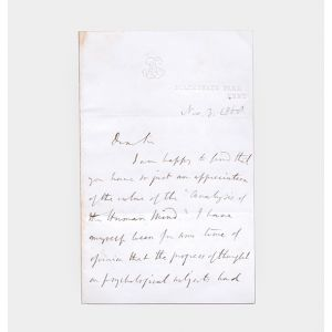 Autograph letter signed to W. C. Sidgwick, discussing Mill's forthcoming edition of his father's Analysis of the Human Mind.