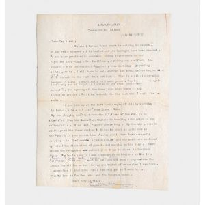 Typed letter signed to his commanding officer during the Great War.