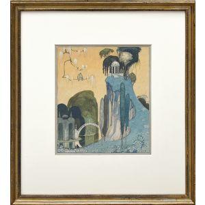 "Original watercolour: ""List, ah list to the zephyr in the grove."""
