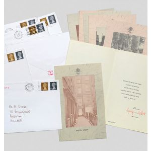 Pink Elephants. An eight part 'Postal Sculpture', where each recipient received a Pink Elephant (a signed greeting card from Gilbert and George with an image on the front).