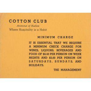 Cotton Club, Aristocrat of Harlem - minimum charge card.