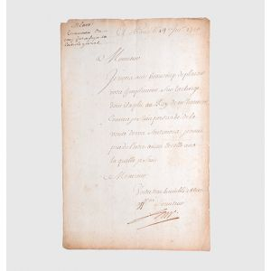 "Autograph letter signed to an unnamed ""Monsieur"", thanking him for his good wishes upon his appointment as Contrôleur general of finance."