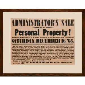 Administrator's Sale. Personal Property! Belonging to the Estate of B. Smith deceased, on the premises near Uniontown, Saturday, December 16, [18]'65.