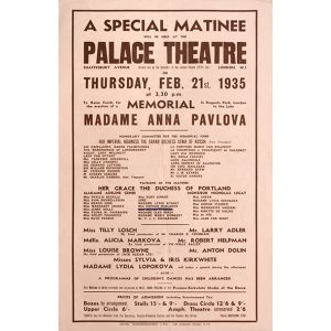 Theatre bill for a fund raising matinee at the Palace Theatre.