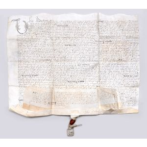 Two manuscript estate indentures relating to Hawkins's property at Chatham, established as a Royal Dockyard in 1567. Signed by Sir John Hawkins and Dame Margaret Hawkins respectively.