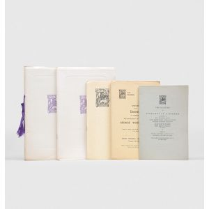 Set of five pamphlets recording speeches given at Pilgrim Society occasions.
