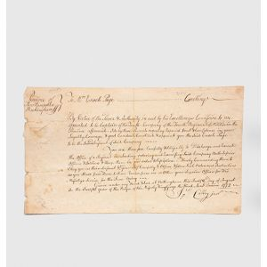 "Fully manuscript commission document, signed, appointing Enoch Page a ""Captain of the Tenth Company, of the Fourth Regiment of Militia in... Province of New Hampshire""."