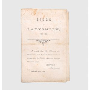 """Siege of Ladysmith, 1899-1900 - """"correct and highest prices realised at my sales by public auction during the... siege""""."""