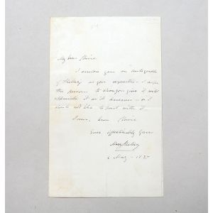 Autograph letter signed to Claire Clairmont, with a clipped signature of Percy Bysshe Shelley.