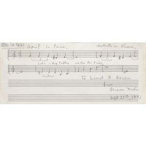 "Holograph Musical Quotation Signed: ""April in Paris""."