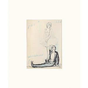 [Pen and ink sketch of a girl dancing on a gentleman's hat.]