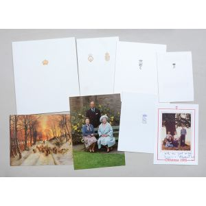 Christmas cards sent to Margaret Thatcher from the Royal Family, 1985.