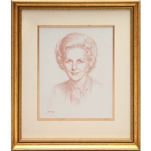 Portrait of Margaret Thatcher.