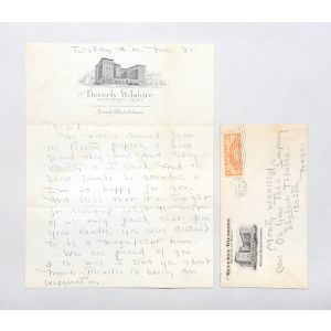 Autograph letter signed to his lifelong friend, actor Monty Woolley.