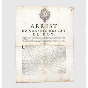 Arrest du Conseil d'Estat du Roy, qui ordonne que les Billets de la Banque Generale, établie par les Lettres Patentes des 2. & 20. May dernier, seront reçûs comme argent pour le payement de toutes les especes de Droits & d'Impositions dans tous les bureau