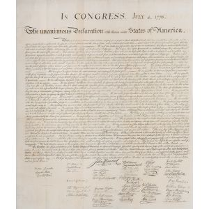 In Congress, July 4, 1776. The Unanimous Declaration of the Thirteen United States of America...