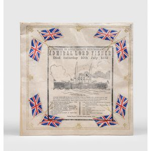Colour-printed crepe paper memorial napkin - Souvenir in Affectionate Remembrance of Admiral Lord Fisher.