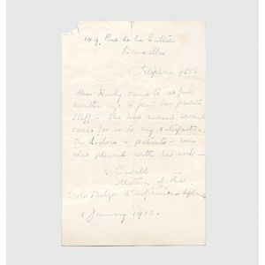 Autograph letter signed by the nurse and war heroine, providing a professional reference for a former member of her staff in Belgium.