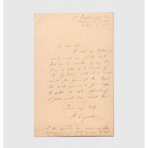 """Autograph letter signed, """"P. Kropotkin""""."""