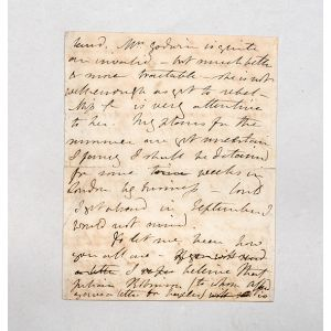 Autograph letter signed to Harriet Boinville.