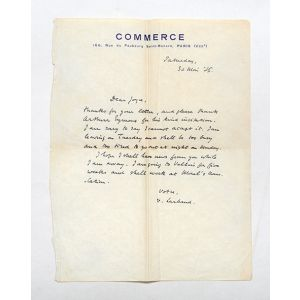 Autograph letter signed to James Joyce.