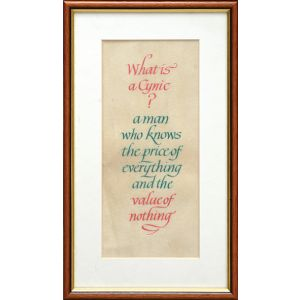 Calligraphic quote on vellum.