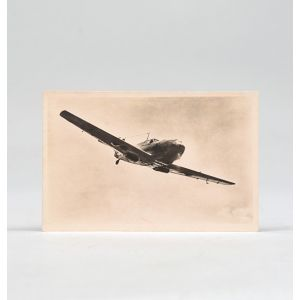 Signed photographic postcard of a Messerschmidt Me 109.