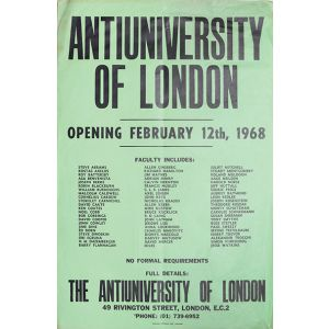 Poster announcing the opening of the Antiuniversity of London.