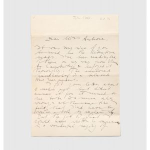 Autograph letter signed, in English, to Alice Ambrose,