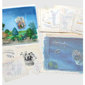 Complete set of the original illustrations for Charlie and the Great Glass Elevator.
