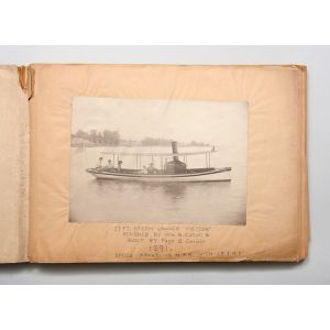 Unusual personal photograph album of ship- and boat-building projects.