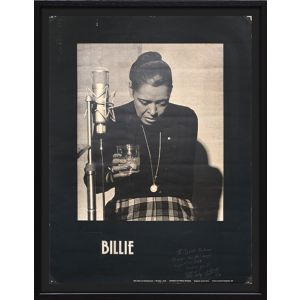 Poster of Billie inscribed by Milt Hinton.