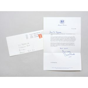 Typed letter signed, in response to a well-wisher following her resignation from public life.