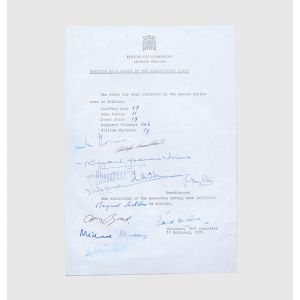 Original whips' office notice of Margaret Thatcher's election as leader of the Conservative Party.