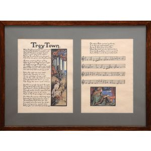 """Troy Town"": pair of sheets with two original watercolours, calligraphy and musical notation."