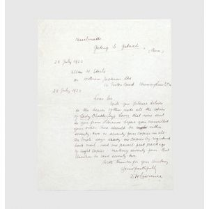 Autograph letter signed relating to the clandestine publication of Lady Chatterley's Lover.