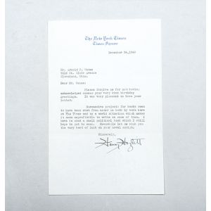 Typed letter signed, to Arnold F. Gates, thanking him for birthday greetings and discussing his writing.