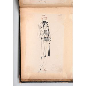 Album of original concept sketches for women's couture.