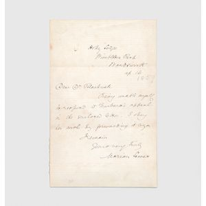 Autograph letter signed to Dr Elizabeth Blackwell.
