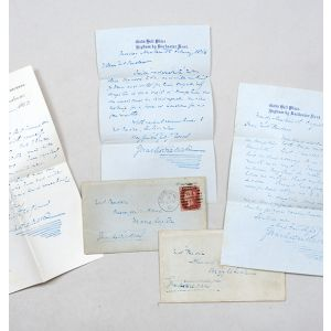 Collection of autograph material, including 4 autograph letters signed by Charles Dickens, 4 by Robert Browning, and a quantity of other autograph material.
