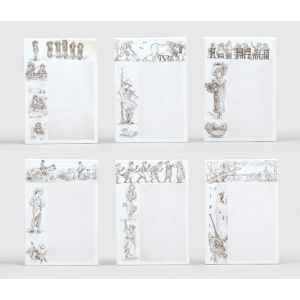 Six Minton porcelain nursery rhyme menu tiles.