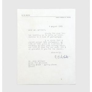 Typed letter signed to the publisher John Gilbert.