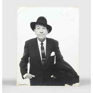 Portrait photograph signed by Avedon, and inscribed by Coward to the musician Jack Daugherty.