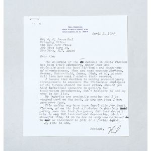 Remarkable one-page typed letter signed to Abe Rosenthal of the New York Times, concerning the withdrawal from Vietnam.