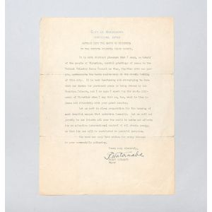 Typed letter signed from the Mayor of Hiroshima, marking the tenth anniversary of the atomic bombing.