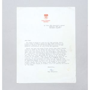 Typed letter signed, regarding the October Crisis.
